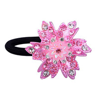 Wholesale Fine pink spray painting hair accessories rhinestone multi color elastic cord hair ties