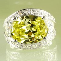green topaz - Rings With Side Stones AR15 Oval Cut Green Amethyst White Topaz Gemstone Silver Plated Size Cluster Setting Wedding Lady Ring A0030