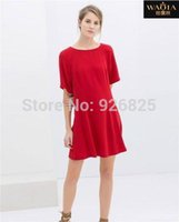 Cheap 2015 New Arrival High-end Fashion Solid O-neck Collar Naked Empty Loose Show Thin Dress Women Dress