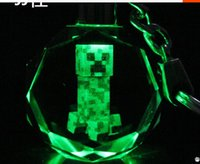laser engraved crystal - Minecraft Crystal LED Keyring Dazzle Colour Key Chains LED light colors laser engraving collectible Beautiful gift
