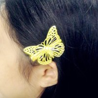Wholesale New Arrive pair Vintage Shiny Gold Hollow Butterfly Bridal Hair Pins Clip Headpiece Barrettes Hairgrips Hair Jewelry Accessories