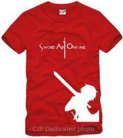 Wholesale Men s women s cotton t shirt sword domain God SAO short sleeved t shirts Unisex Cartoon clothes colors