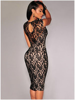bodycon dresses - New dresses for women High quality casual sexy high waist sleeveless lace dress bodycon party club dresses DLM02