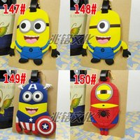 Wholesale 66 Design New Despicable Me Spider man Superman Captain America Luggage Tags Name Bag Card Holder Travel Suitcase Baggage Tags HHA45