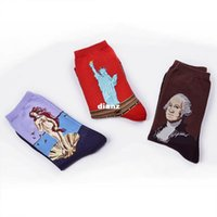 Wholesale USA Washington Mermaid Cupid Statue of Liberty Van Gogh painting socks