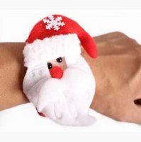 Wholesale Santa Claus pat circle Christmas Ornament Christmas gift toys Christmas Slap Snap Bracelets Snowman elk poop Ring Red hoop cm g