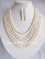 achat en gros de blanc perles en gros de perles-Vente en gros-Amazing naturel blanc 6rows perles d'eau douce perles collier bracelet boucle d'oreille ensemble cadeau de mariage de fête de vacances cadeau /// Free ship