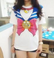 Wholesale Fashion women teens cartoon short sleeves T shirt tops Tees Japanese anime harajuku Sailor Moon soft cottonT shirt COS custume party gift
