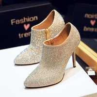 ankle boo - 2015 the spring and autumn the female point diamond single high heeled shoes deep mouth zipper and naked fine with golden wedding shoe boo