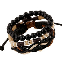Wholesale Women men beaded strands braided wood beads wax rope weave bracelets vintage wrist hand made jewelry set european american export