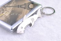 Wholesale 2015 The new metal key ring bottle opener keychain shark creative gifts multifunction key chain