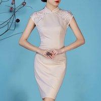 Wholesale 2015 new summer fashion daily cheongsam improved cheongsam dress lace dress Slim thin large size women