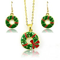 Wholesale New Arrivals Jewelry Sets Fashion Green Christmas Circle Gold Plated Earrings Necklace Sets Christmas Decoration Jewelry
