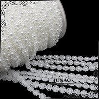 Wholesale 10mm Flower Pearl Trim Chain ABS Pearl Beaded String Bridal Rhinestones Applique For Wedding Clothes Accessories