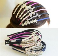 band sparkles - 2015 Princess Lady Girls Butterfly Mickey Minnie Head Flower Rhinestone Pearl Headband Woman Sparkling Beads Hairband Hair Bands D3720