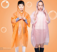 Wholesale New arrival children One time Raincoat Fashion peva Hot Disposable PE Raincoats Poncho Rainwear Travel Rain Coat students Rain Wear Y I