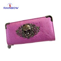 skull purses - Fashion Women Skull Wallets Zipper Day Clutches Ladies Long Clutches Vintage Punk Coin Purse Card Holder