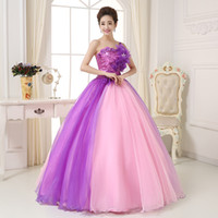 Wholesale 2015 New Arrival Ball Gown One Shoulder Lace Up Floor Length Tulle Flowers Quinceanera Dresses Prom Gowns Cheap