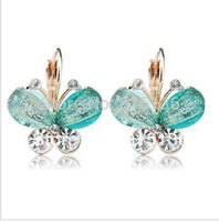 Wholesale SALE pc new Fashion Exquisite crystal butterfly Earring for women alloy Stud Earrings jewelry