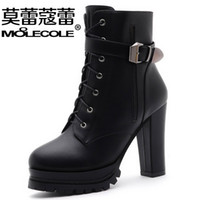 cowboy boots for women - 2015 new style leather boots buckle combat boots for women dress boots with zip chunky heels boots cowboy boots Christmas gift cm
