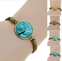 antique cabochons - HOT life tree glass Cabochons Bracelet Bangle antique Brown Charms bracelet Wonderful Gift Lobster Clasp women bracelet fashion EH271