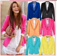 Wholesale new hot selling candy color women s small suits a grain of buckle young women s blazer fashion ladies wear