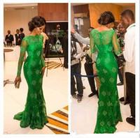 2015 de manga larga vestido de fiesta Vestidos de la celebridad verde sirena del cordón de la gasa de la corte del cuello alto de la celebridad de tren vestidos formales para Womens Wear