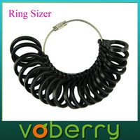 Wholesale Voberry New Professional Black Jeweler s Ring Sizer Set Measuring Tool UK US Standard best deal