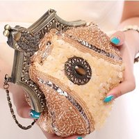 Wholesale Handmade Vintage women clutch Evening Bags Stone style Beaded Delicate Banquet Wedding Party bag purses and handbags Color H1