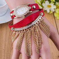 belt loop watch - Unique Fashion Ladies Chain Dangle Leather Steel Strap Bracelet Watches Women Punk Dress Finger Loop Oval Crystal Diamond Dancing Wristwatch