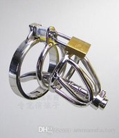 Wholesale New Bondage Penis Plug male chastity devices belt stainless steel lockable cock cage penis ring cage dildo cages sex toys for men M002