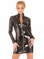 Wholesale Sexy Leather Uniform Women - Mini Dress Latex Leather Skirt PVC Long Sleeve Costume Sexy Lingerie Catsuit Leather Bodysuit Sexy Game Jumpsuit Uniforms Dancing Clothing