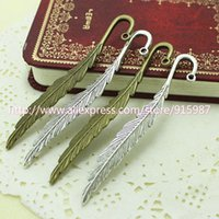 Wholesale 20 mm new fashion classics wholesales feather shape two color lead free metal alloy bookmark