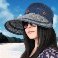 Cheap Spring and summer classic large eaves dual-purpose woman along the straw hat beach sun hat hat