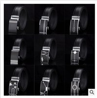 Wholesale 55 designs mix design HOT Fashion belt MEN S Genuine Leather Waist Strap Belts Automatic Buckle Black C1389