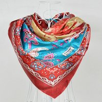 Cheap 2014 Polyester Silk Scarf Printed,Fashion Women Red Big Square Scarf Shawl,New Design Jacquard Large Satin Scarves 110*110cm