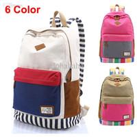 Wholesale Fashion Stripe Men Women s Canvas Backpack Rucksack Student Book School Bag For Girl Boy Casual Travel Bag Mochila Drop shipping