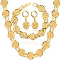muslim jewelry - 18K Real Gold Plated Classic Religion Jewelry Muslim Allah Necklace Earrings Bracelet Set Fashion Jewelry For Women MGC NEH5107