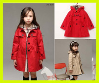 Wholesale spring baby wear girls fashion outwear kids trench hoodies jacket girls casual single breasted coat classic coats for girls kids jacket hot
