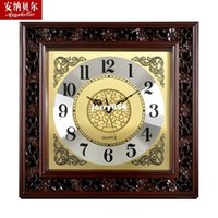 art reports - Chinese wind Chinese big wall clock wood living room wall charts Continental reported a square clock home decorative arts Watches