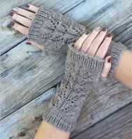 Wholesale Women Warm Winter Fingerless knitted Gloves Splayed Crinkle Mittens Fashion Unisex Crochet Wrist Mittens