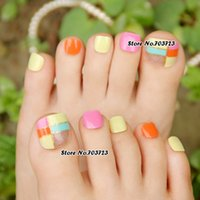 Wholesale Acrylic Lady False Nails for Toe Fake Carnival Candy Color Grid Toes Z506