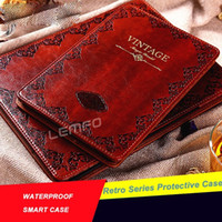 Wholesale Luxury Retro Vintage Old Flip Book Style PU Leather Case Magnetic Smart Cover Stand for iPad air2 for ipad
