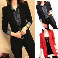 bamboo fly - 2014 New Slim Women Blazer Suit Jacket Casual Medium Long Woman Coat Spring Autumn Plus Size Blazers v213