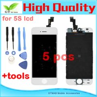 Cheap 5pcs lot good quality testing lcd For iphone 5S Lcd Digitizer Touch Screen Assembly Replacement With Open tools Retina Display White