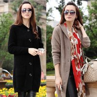 Women mink cashmere - Pure Mink Cashmere Cardigan Sweater Coat For Ladies Hooded Tops Winter Knits Outwear Fashion Longhaired Cashmere Sweater Cardigan L056