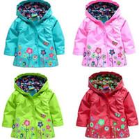 Wholesale 2015 Kids Children Girls New Flowers Hooded Waterproof Windproof Raincoat Jacket