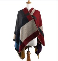 Wholesale Oversized Sweater Cardigan Runway Catwalk Street Snap Knitted Cardigan Plaid Cape Poncho Shawl Women Lady