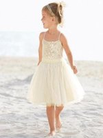 beach list - Cute Beach Flower Girl Dresses A Line Spaghetti Tea Length for Beach Themed Wedding Custom Made New Listing Hot Selling