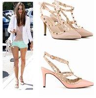 Wholesale 2015 Spike Heels Candy Color Rivet Shoes Sandals Ladies Shoes CM Pumps High Heels Evening Party Shoes Women Stiletto Sandals